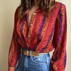 Vintage animal print blouse